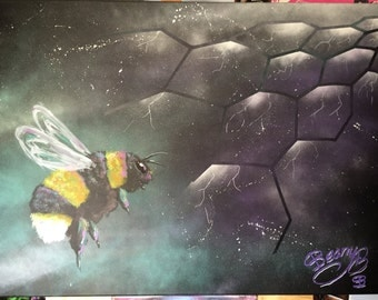 Space Bee, painting, art