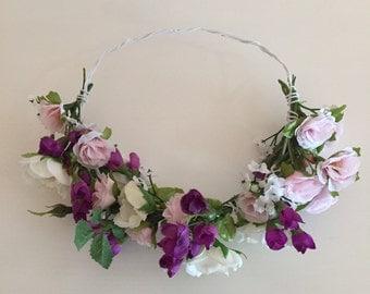 Flower hair wreath, flower crown, flower wreath, toddler dress up