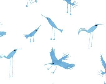 Cute Bird Fabric   Bluebirds   Wild Bird Print   Baby Blanket Material   Animal Print   Baby Gone Wild   Dancing Birds   Organic   Cloud9