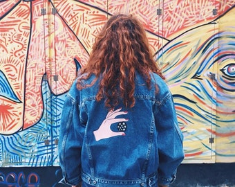PANDISTELLE hand painted vintage denim jacket