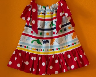 Dinosaur Dress, Pillowcase Dress, Red Polka Dot Ruffle, Pillowcase Dress. Made to order 12 months, 18 months, 2T, 3T, 4T, 5T, 6T, 7T