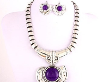 Purple Statement Jewelry set