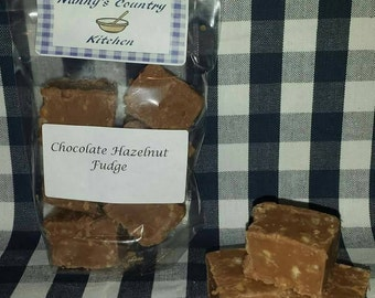 Home made chocolate and hazelnut fudge