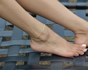 Gold Anklet, Gold Ankle Bracelet, Summer Jewelry