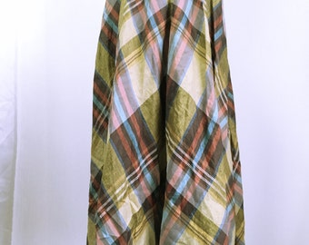 80-90's chloe vintage plaid linen skirt