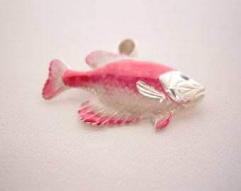 Sterling Silver Enamel Fish Pendant