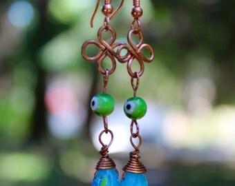 Blue & green Glass Bead Copper Wire Dangle Earrings/ One of a Kind