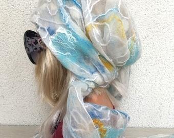 Nuno Felting Shawl Wraps Shawls Scarves & Wraps One-of-a-kind Caribbean Headscarf Neckerchief Silk Silk Shawl