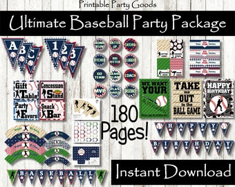 Ultimate Baseball Party Pack, Baseball Party Decoration Baseball Party Baseball Theme Party Baseball Birthday Baseball Decoration Banner