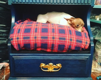 Blue Tartan Pet Bed