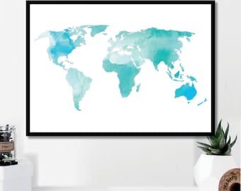 Watercolor Map // Minimalist Poster // Wall Art Print // Typography // Fashion // Scandinavian Poster // Boho // Modern Office