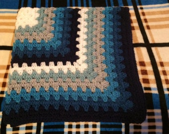 Granny Square Stripe Receiving Blanket