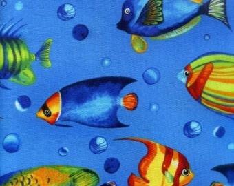 "Fish Fabric by Robert Kaufman: Marine Tropical Reef  100% cotton Fabric by the yard 36""x43"" (C39)"