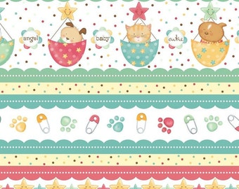 BABY Nursery Fabric: BABY BUNDLES Stripe Animals Cats, Dogs, Bears by Quilting Treasures 100% cotton Fabric By the Yard  (QT122)