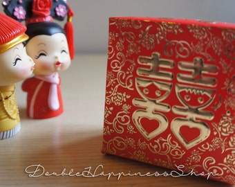 Double Happiness Box with Lid Chinese Wedding Favor Box (Qty 100)