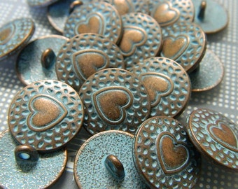 Antiqued Copper Heart Metal Button - Copper Tone Metal Shank Button with Aged Blue Patina