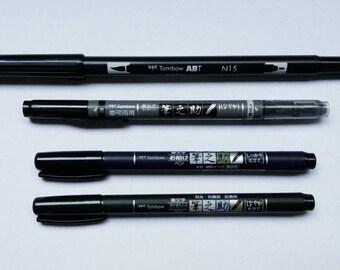 Tombow Pens - Dual Brush, Dual Grey and Black tip, Fudenosuke Soft/Hard tip