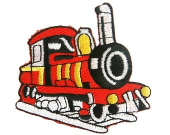 Red Train Embroidered Applique Iron on Patch 7.5 cm. x 7 cm.