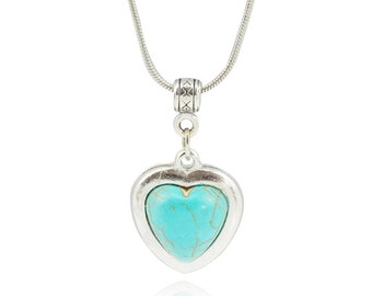 Simple Turquoise Heart Necklace
