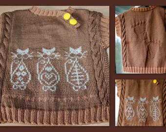 knit vest children with cats.