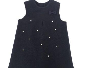Boiled wool dress for little girl