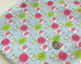 Blue Love Elephants 100% Cotton Fabric