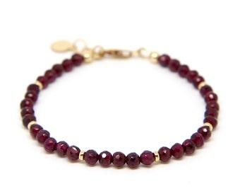 Garnet bracelet, faceted Garnet gemstone bracelet.