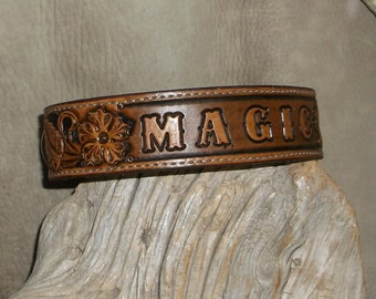 Custom Personalized Leather  Dog Collar with Floral Carving. For Medium Size Dogs. G&E