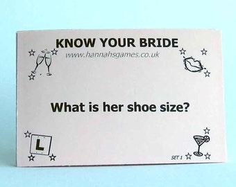 How well do you know the Bride? fun game cards