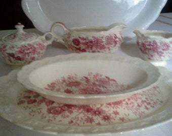 Vintage, red and white transferware, 5 piece set