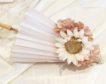 Hand Made Parasols White Wedding Umbrella Bridal Umbrella With Flowers and a Pearl Top