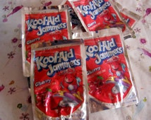 10 Plastic Kool Aid Pouches in Red  for Crafts Upcycle