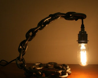 Welded Chain Steam Punk Table Lamp with Squirrle cage bulb