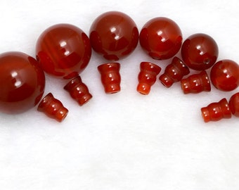 10 Sets-Natural  Carnelian Agate Beads, Guru Beads, Mala Bead, 3 Holes,Round Bead,Mala Making, Prayer Beads, Japa Mala, Tibetan
