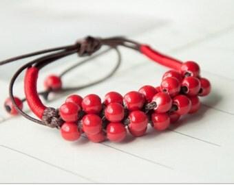 Mud-Q handmade Ceramics Red Cranberry Braid Bracelet