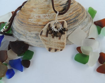 Brown Scottish Sea Pottery Pendant