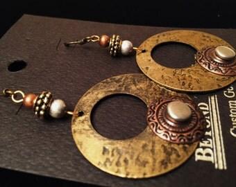 Tri-color Metal Round Earrings