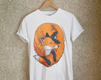 Illustrated FOX Adult's White T-shirt, by Vector That Fox
