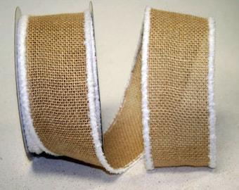 "2 1/2"" Snow Edge Burlap Christmas Ribbon - Wire Edge - 2 Colors - 10 Yard Roll"