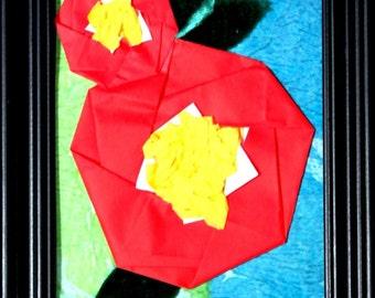 "Origami Flower Collage ""Camilla Japonica"""