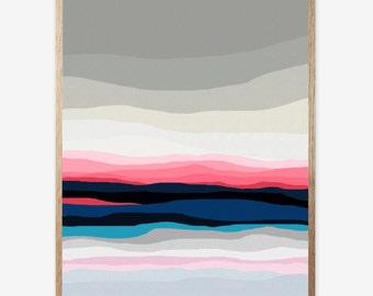 Landscape Art Print, Abstract Landscape Print, Mid Century Modern, Modern Abstract Art, Landscape Wall Art, Minimalist, Art Work 16x20