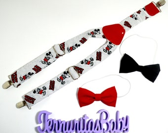 Suspenders and Bowtie Mickey Mouse White, Boy and Girl Suspenders and Bowtie Mickey Mouse White