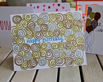 Happy Birthday Swirl Card