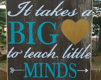 Hand painted wood sign - teacher gift - rustic teacher sign