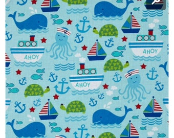 Personalized embroidered baby blankey nautical sea with minky back