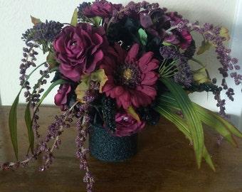 Black and Purple Silk Floral Arrangement
