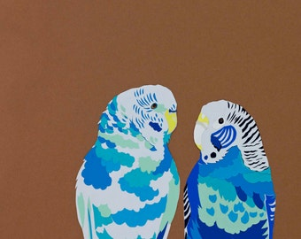 Blue budgies limited edition signed giclee fine art print