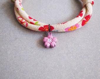 Japanese kimono dog & cat collar_creamy-white sakura_S size