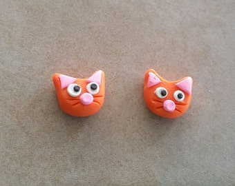 Cat stud earrings - polymer clay