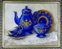 "Bead embroidery picture ""Sevres porcelain""/ Beaded painting/ Blue dinnerware/ Handmade gift/ Interior decor"